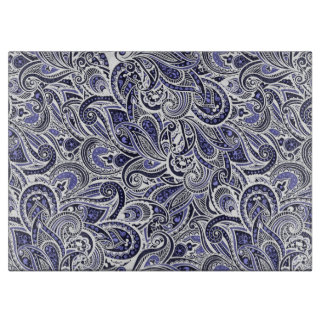 Cute blue white paisley patterns design cutting board