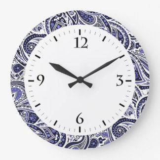 Cute blue white paisley patterns design large clock