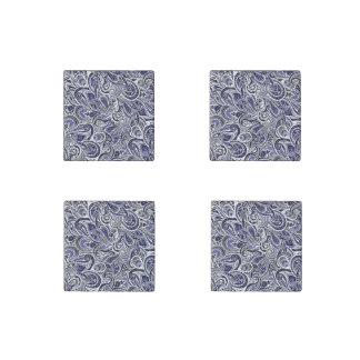 Cute blue white paisley patterns design stone magnet