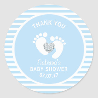 Cute Blue White Stripes Feet Heart Boy Baby Shower Classic Round Sticker