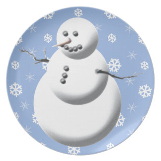Cute Blue & White Winter Snowman Holiday Plate