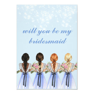 cute blue will you be my bridesmaid Invitation