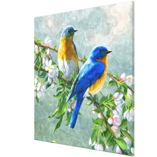 Cute Blue Yellow Birds Cherry Blossom Watercolor Canvas Print