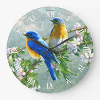 Cute Blue Yellow Birds Cherry Blossom Watercolor Large Clock