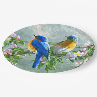 Cute Blue Yellow Birds Cherry Blossom Watercolor Paper Plate