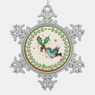 Cute Bluebird with Green and Red Holly Pewter Snowflake Decoration