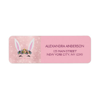 Cute Blush Pink Sparkle - Easter Bunny Return Address Label