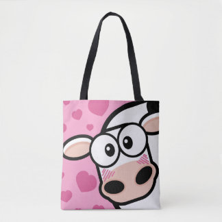 Cute Blushing Cow with Pink Love Hearts Tote Bag