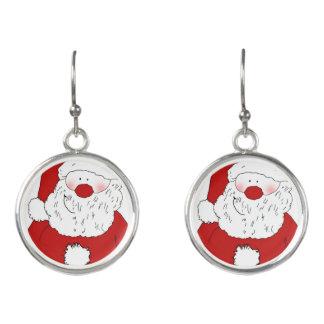 Cute Blushing Santa Earrings