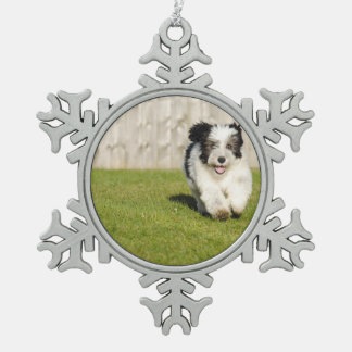 Cute Bobtail Sheepdog Snowflake Pewter Christmas Ornament
