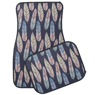 Cute boho pattern pastel colored feathers artsy car mat