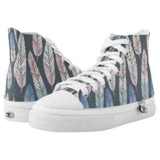 Cute boho pattern pastel colored feathers artsy high tops