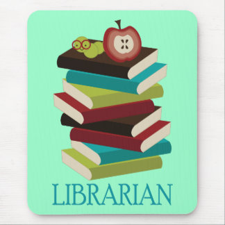 Cute Book Stack Librarian Gift Mouse Pad