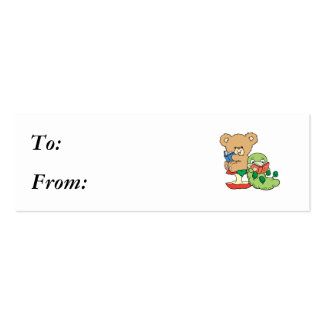 Cute Book Worm and Reading Bear Business Card