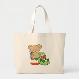 Cute Book Worm and Reading Bear Jumbo Tote Bag