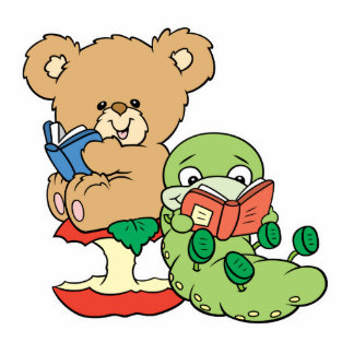 Cute Book Worm and Reading Bear Standing Photo Sculpture