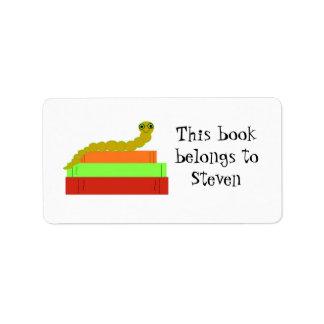 Cute Bookworm Bookplate Label