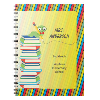 Cute Bookworm Sitting on Books Personalized Spiral Notebooks