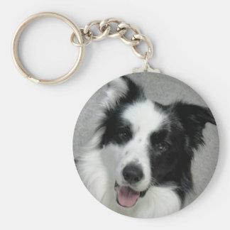 Cute Border Collie Photo Portrait Basic Round Button Key Ring