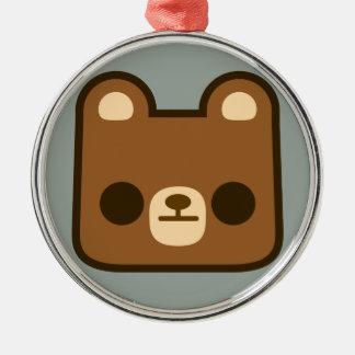 Cute Bored Bear Face on Grey Christmas Ornament