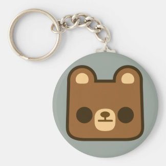 Cute Bored Bear Face on Grey Keychain