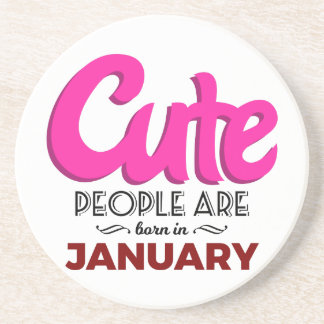 Cute Born In January Babies Birthday Coaster