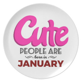Cute Born In January Babies Birthday Plate