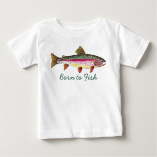 """Cute """"Born to Fish"""" Trout Fly Fishing Baby T-Shirt"""