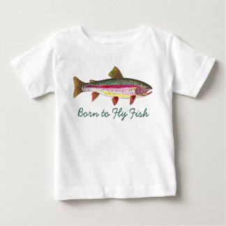 "Cute ""Born to Fly Fish"" Trout Fly Fishing Baby T-Shirt"