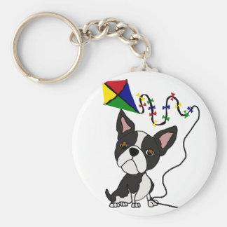 Cute Boston Terrier Dog Flying Kite Key Ring