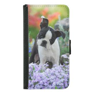 Cute Boston Terrier Dog Puppy Animal Photo - Samsung Galaxy S5 Wallet Case