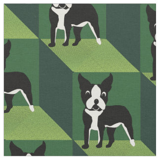 Cute Boston Terrier on Green Cubes Fabric