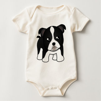 Cute Boston Terrier Puppy Dog Cartoon Animal Baby Bodysuit