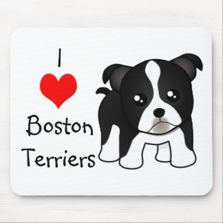 Cute Boston Terrier Puppy Dog Cartoon Animal Mouse Pad