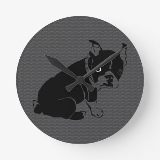 Cute Boston Terrier puppy Woof Round Clock