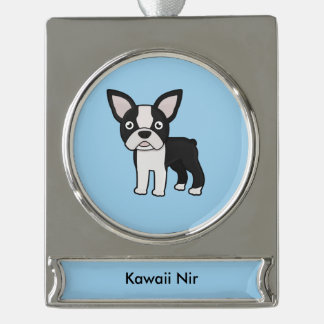 Cute Boston Terrier Silver Plated Banner Ornament