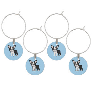 Cute Boston Terrier Wine Charm