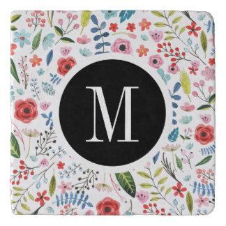 Cute Botanical Flowers & Leas Pattern Monogram Trivet