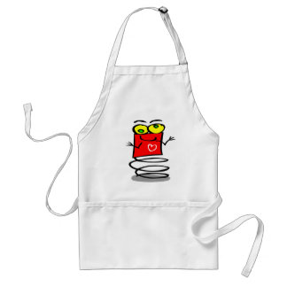 Cute bouncy Red Kids Robot,Yellow Eyes,Big Heart Standard Apron
