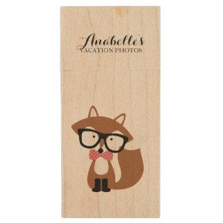 Cute Bow Tie and Glasses Brown Fox Custom Wood USB Flash Drive