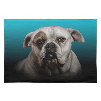 Cute Boxer Dog w Blue Black Gradient  background Place Mats