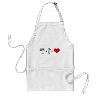 Cute boy and girl love doodle standard apron