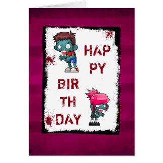 Cute Boy and Girl Zombie Happy Birthday Card