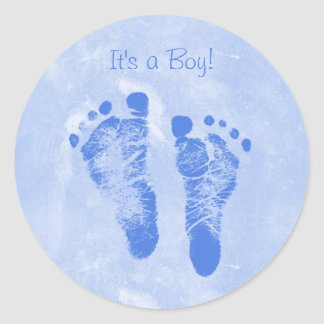 Cute Boy Baby Footprints New Baby Annoucements Classic Round Sticker