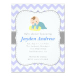 Cute Boy Baby Shower, Blue and White Chevron Personalized Invite