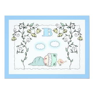 Cute Boy Baby shower Invites Baby and Bird