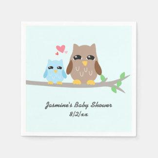 Cute Boy Baby Shower Owl Disposable Serviettes