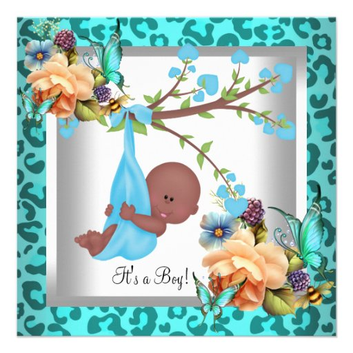 Cute Boy Baby Shower Teal Blue Leopard Wild Child Invitations