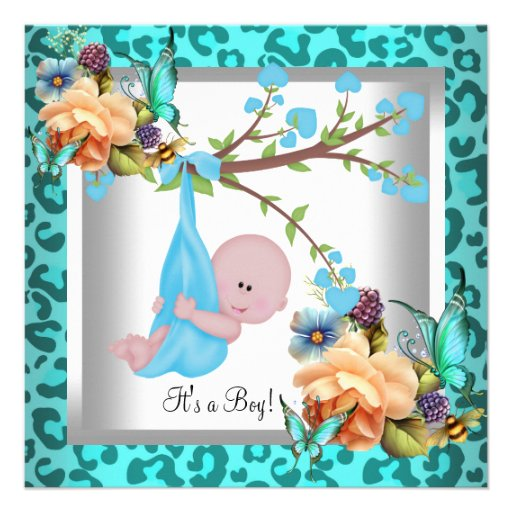 Cute Boy Baby Shower Teal Blue Leopard Wild Child Personalized Announcements