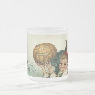 Cute Boy Holding Cat and Pumpkin Halloween Mug